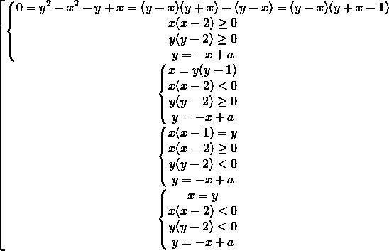 \[\begin{bmatrix} { \begin{Bmatrix} {0=y^2-x^2-y+x=(y-x)(y+x)-(y-x)=(y-x)(y+x-1)} \\{x(x-2) \ge 0} \\{y(y-2) \ge 0} \\{y=-x+a} \end{matrix} }\\{ \begin{Bmatrix} {x=y(y-1)} \\{x(x-2) < 0} \\{y(y-2) \ge 0} \\{y=-x+a} \end{matrix} }\\{ \begin{Bmatrix} {x(x-1)=y} \\{x(x-2) \ge 0} \\{y(y-2) < 0} \\{y=-x+a} \end{matrix} }\\{ \begin{Bmatrix} {x=y} \\{x(x-2) < 0} \\{y(y-2) < 0} \\{y=-x+a} \end{matrix} } \end{matrix}\]